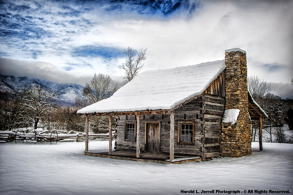 Gorgeous Blue Ridge Cabins in the Snow - Mountain Cabin PNG