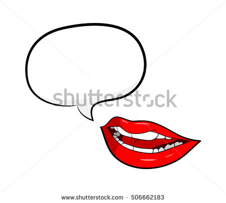 Gossip Red Lips Talking with Speech Bubble. A hand drawn vector cartoon  illustration of a - Mouth Talking PNG HD