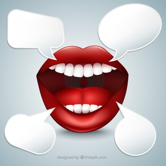 Mouth with speech bubbles - Mouth Talking PNG HD