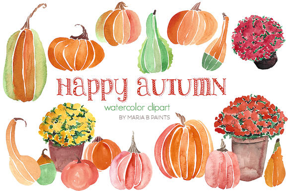 Watercolor Clip Art - Pumpkins, Mums - Mums And Pumpkins PNG