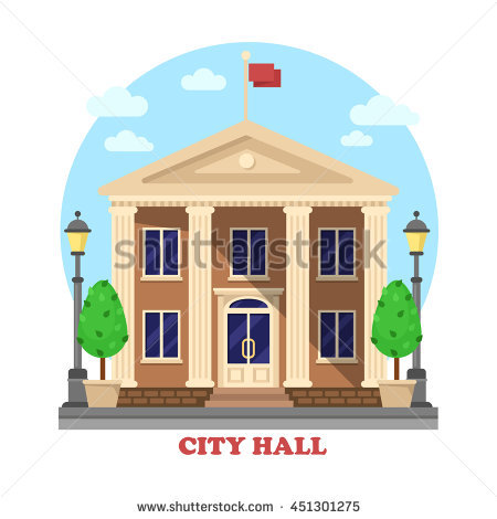 City hall architecture facade of building exterior with flag on top and  bushes near entrance with - Municipal Hall PNG