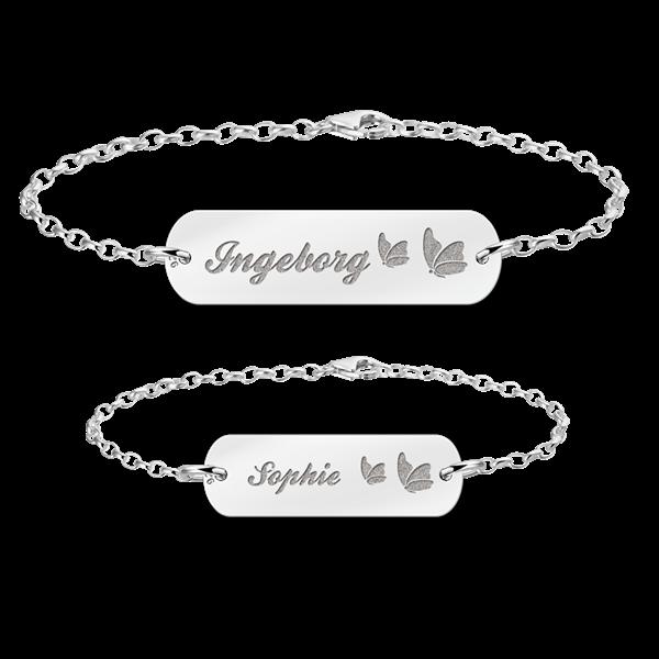 Mutter Tochter Armband Silber Bar mit Namen und Schmetterlinge - Mutter Tochter PNG