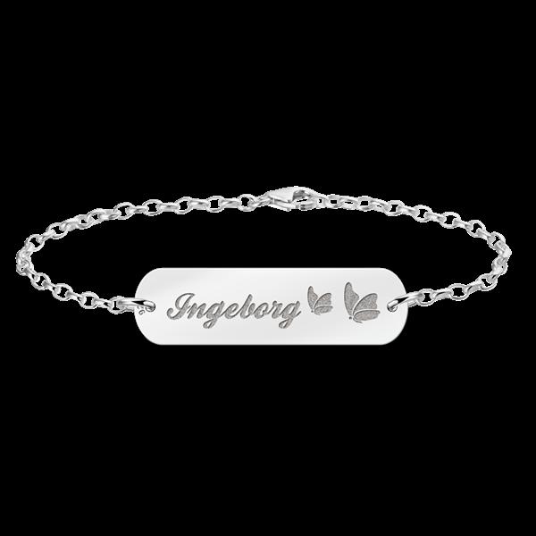 Mutter Tochter Armband Silber Bar mit Namen und Schmetterlinge2 - Mutter Tochter PNG