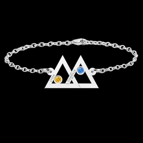 Mutter Tochter Armband Silber zwei Dreieck und Geburtsstein - Mutter Tochter PNG