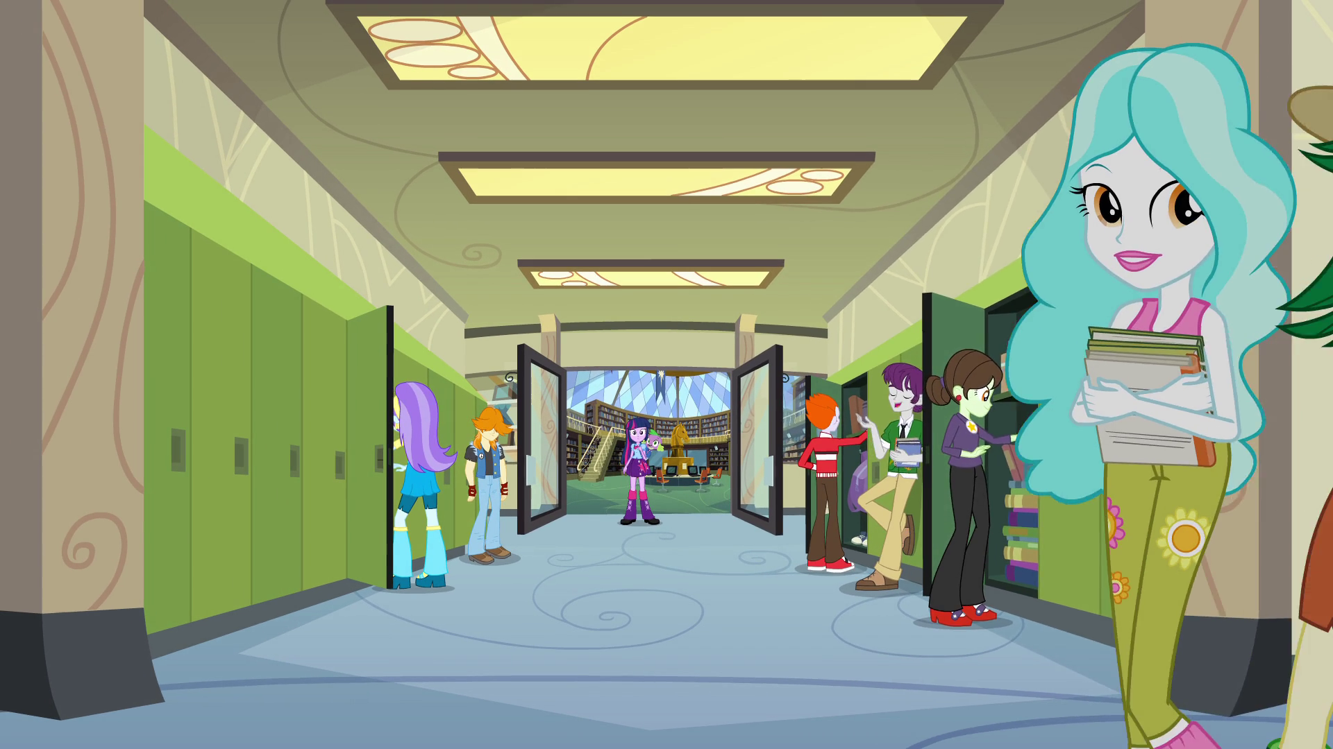 Twilight and Spike in the hallway EG.png - My School PNG HD