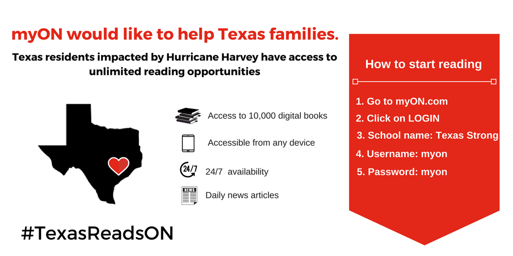 myON wants to support Texas in this difficult time the only way we know  how, through reading! All Texas residents affected by Hurricane Harvey now  have PlusPng.com