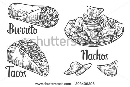 Mexican traditional food set with text message, burrito, tacos, chili,  tomato,