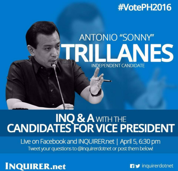 FULL TEXT: INQu0026A with vice presidential candidate Sonny Trillanes |  Inquirer News - Nagmamano PNG