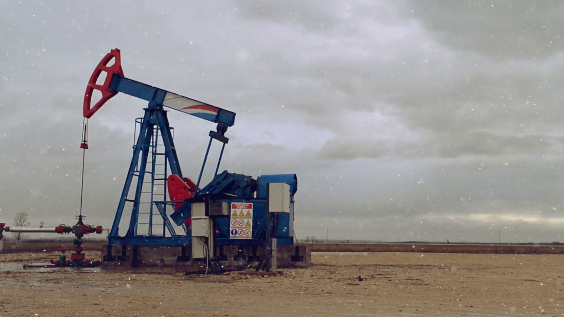 Pumpjack Oil Pump Operating On Natural Gas In The Field Pumping From The  Oil Well During The Winter Snofall Season. 1920x1080 Full Hd Footage. - Natural Gas PNG HD