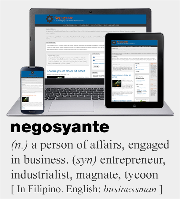 Screenshot of Negosyante, a blue and grey (and orange) sub-theme of - Negosyante PNG