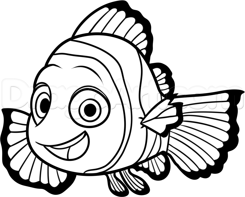 Nemo Fish PNG Black And White - 154366