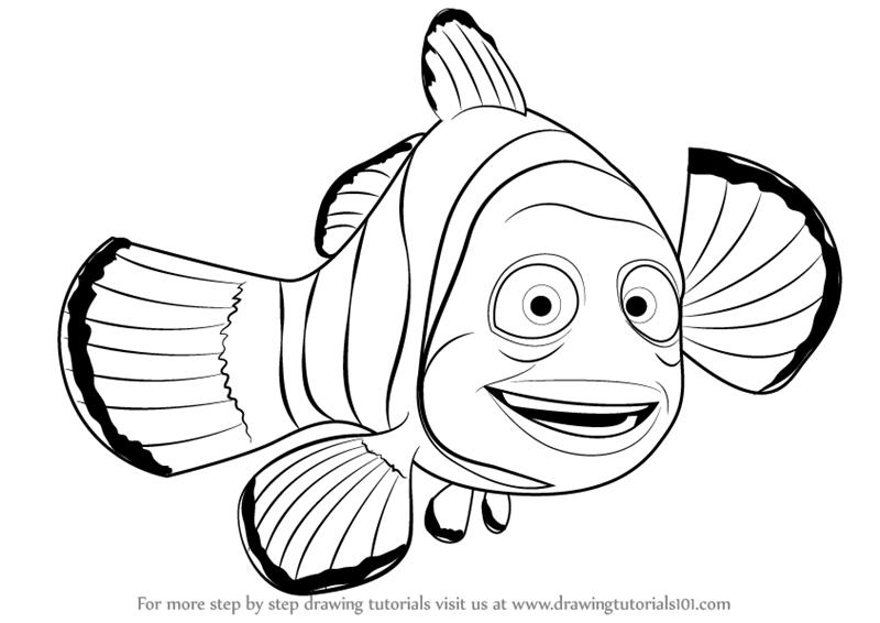 Nemo Fish PNG Black And White - 154367