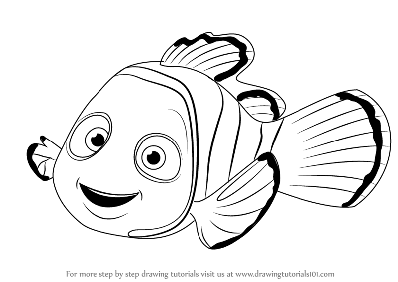 Nemo Fish PNG Black And White - 154354