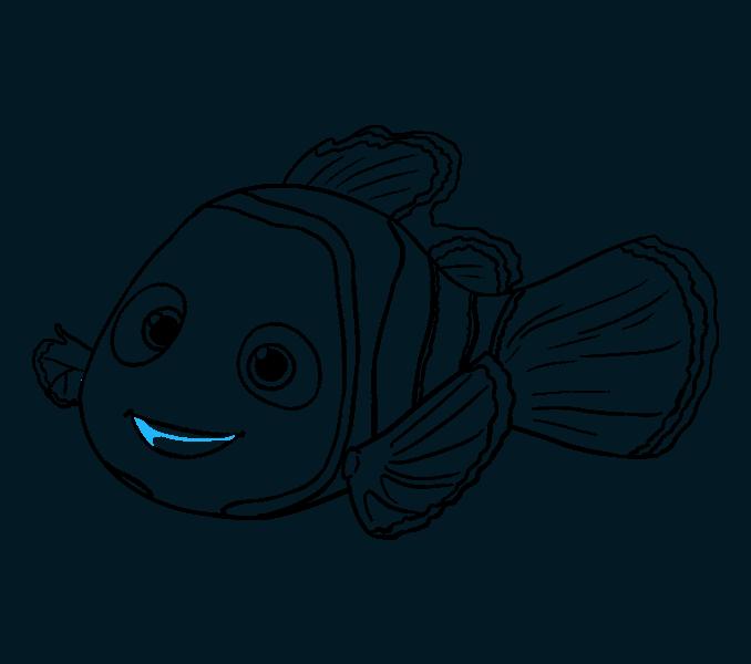 Nemo Fish PNG Black And White - 154350