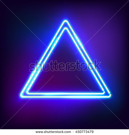 Neon abstract triangle. Glowing frame. Vintage electric symbol. Burning a  pointer to a - Neon PNG