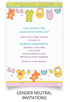 Baby Shower Girl Invitations. Gender Neutral Invitations - Neutral Baby Shower PNG