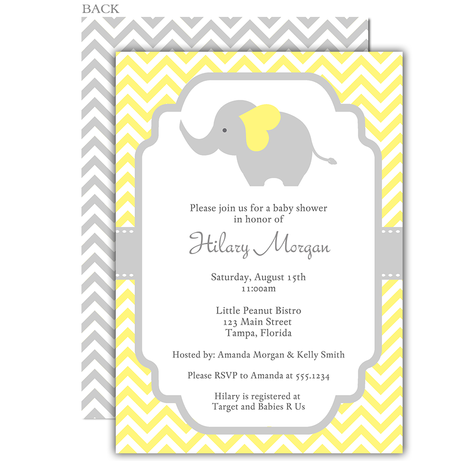 Chevron Elephant Yellow Baby Shower Invitation - Neutral Baby Shower PNG