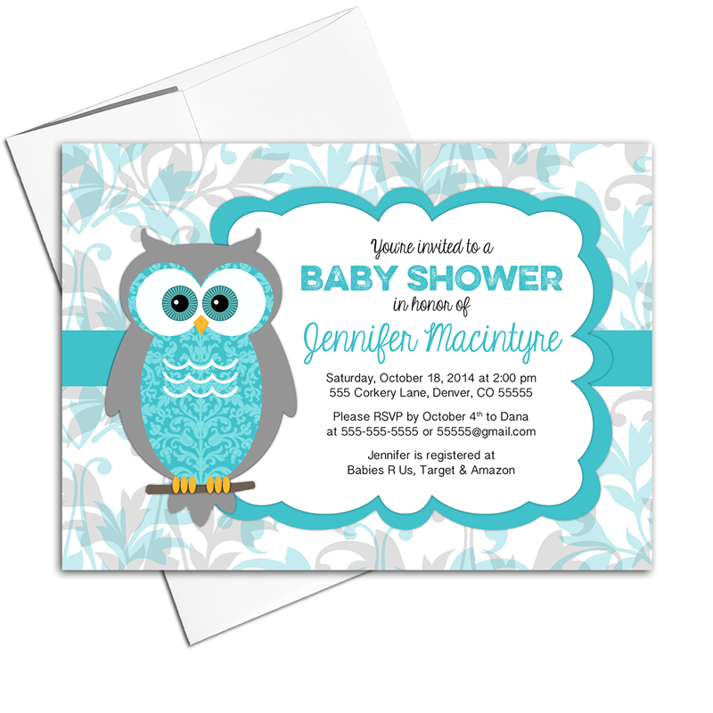 Gender neutral baby shower invites | owl Invitations | turquoise and gray |  printable or printed - Neutral Baby Shower PNG