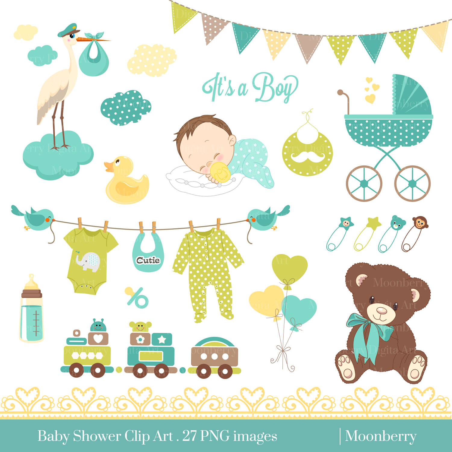Neutral Baby Shower Clipart 16 - Neutral Baby Shower PNG