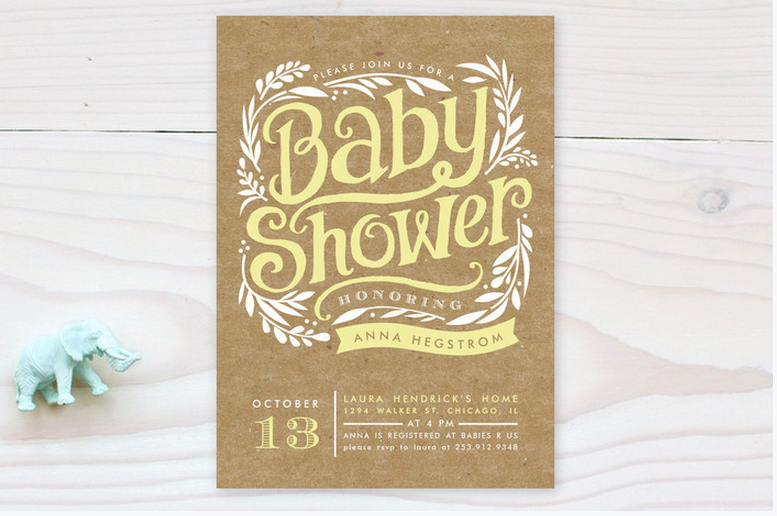 Rustic Baby Shower Invitation - Neutral Baby Shower PNG