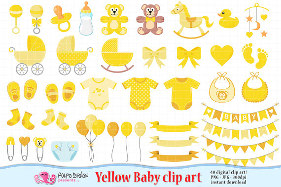 Yellow Baby Clipart. Scrapbook Yellow Baby clip art, Boy Girl Gender Neutral,  baby shower clipart, baby shower clip art, new born clipart. from  PolpoDesign PlusPng.com  - Neutral Baby Shower PNG