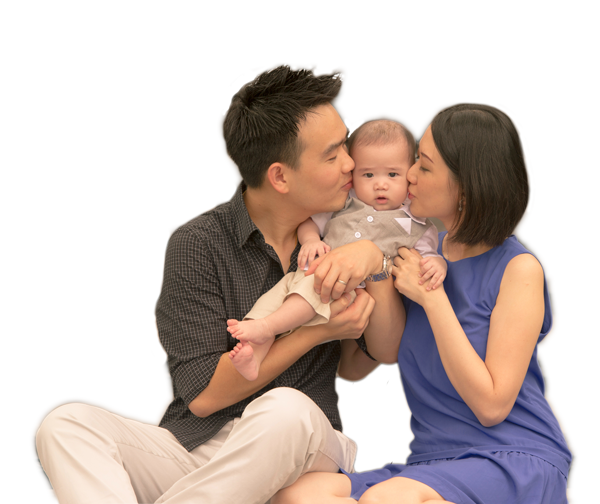 asian_family_kissing_baby_cs - New Family With Baby PNG