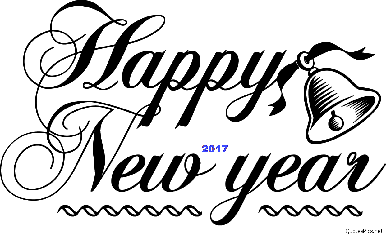 happy new year text and bell png image