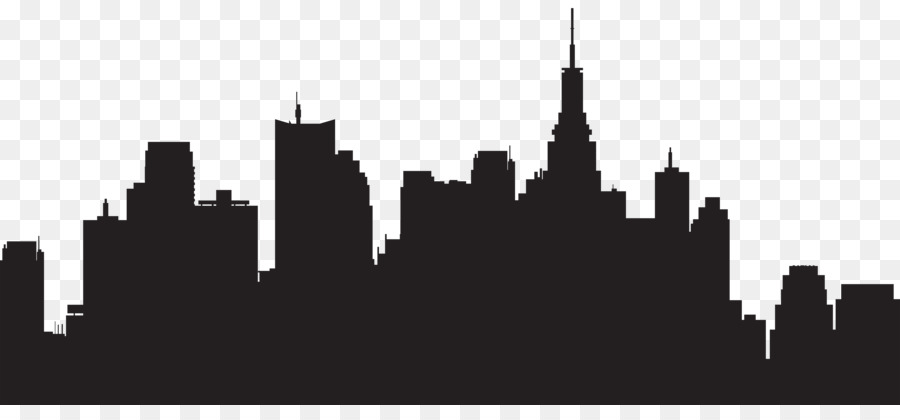 New York City Silhouette Skyline Clip art - CITY - New York City PNG Black And White