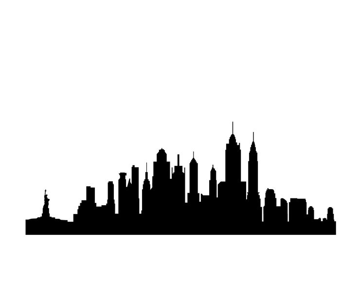new york skyline silhouette - New York City PNG Black And White
