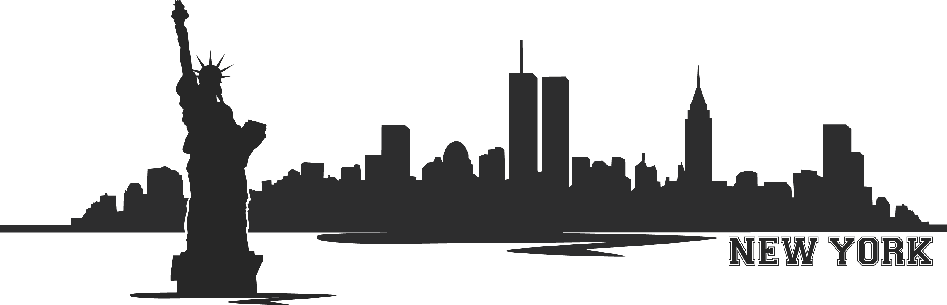 Skyline New York Wall Sticker Wallsticscom - New York City PNG Black And White