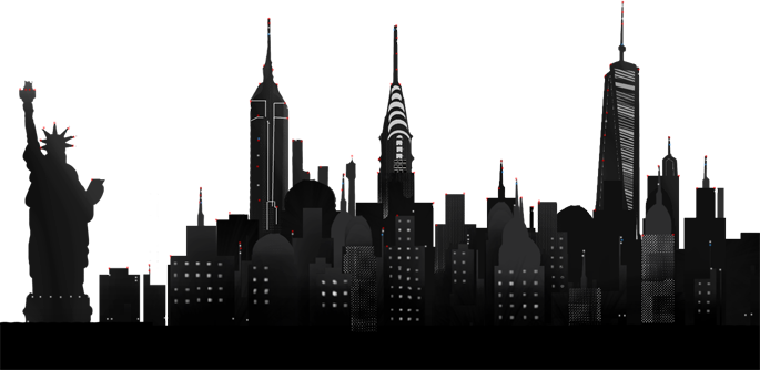 new york night skyline overlay (full size) - New York City PNG Skyline