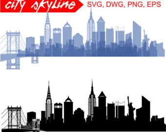 New York SVG, New York City Vector Skyline, New York City silhouette, Svg,  Dxf, Eps, Ai, Cdr, Skyline Clipart, New York clip art - New York City PNG Skyline