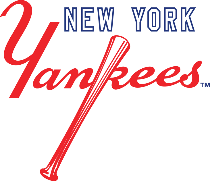 New York Yankees Secondary Logo (1973) - New York in white above red  scripted - New York Yankees Logo Vector PNG