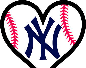 New York Yankees Baseball l Love Heart digital for decal for car window,  yeti, - New York Yankees PNG