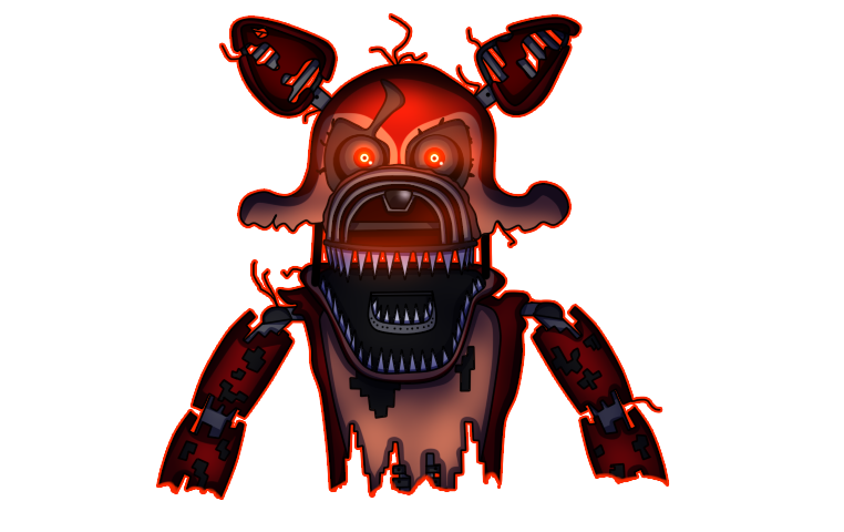 Nightmare Foxy - FNAF 4 Fan Art by Pixeliada PlusPng.com  - Nightmare Foxy PNG
