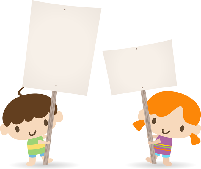 Children Placards Vector - Nino Con Cartel PNG