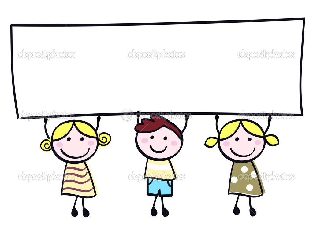 Descargar - Niños lindos doodle con cartel en blanco banner aislado en  blanco u2014 Ilustración de - Nino Con Cartel PNG