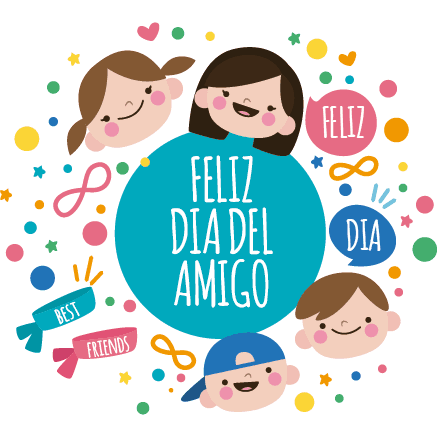 Niños Amigos - Cartel en Vinilo Día Del Amigo - comprar online - Nino Con Cartel PNG