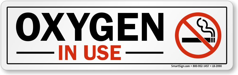 No Smoking Label : Oxygen In Use (with No Smoking. - No Oxygen PNG