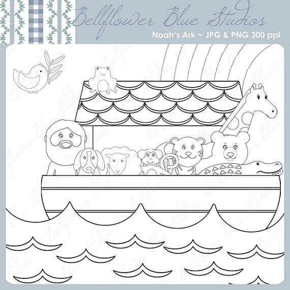 Noahs Ark PNG Black And White - 74020