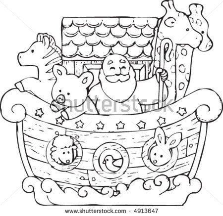 Noahs Ark PNG Black And White - 74022