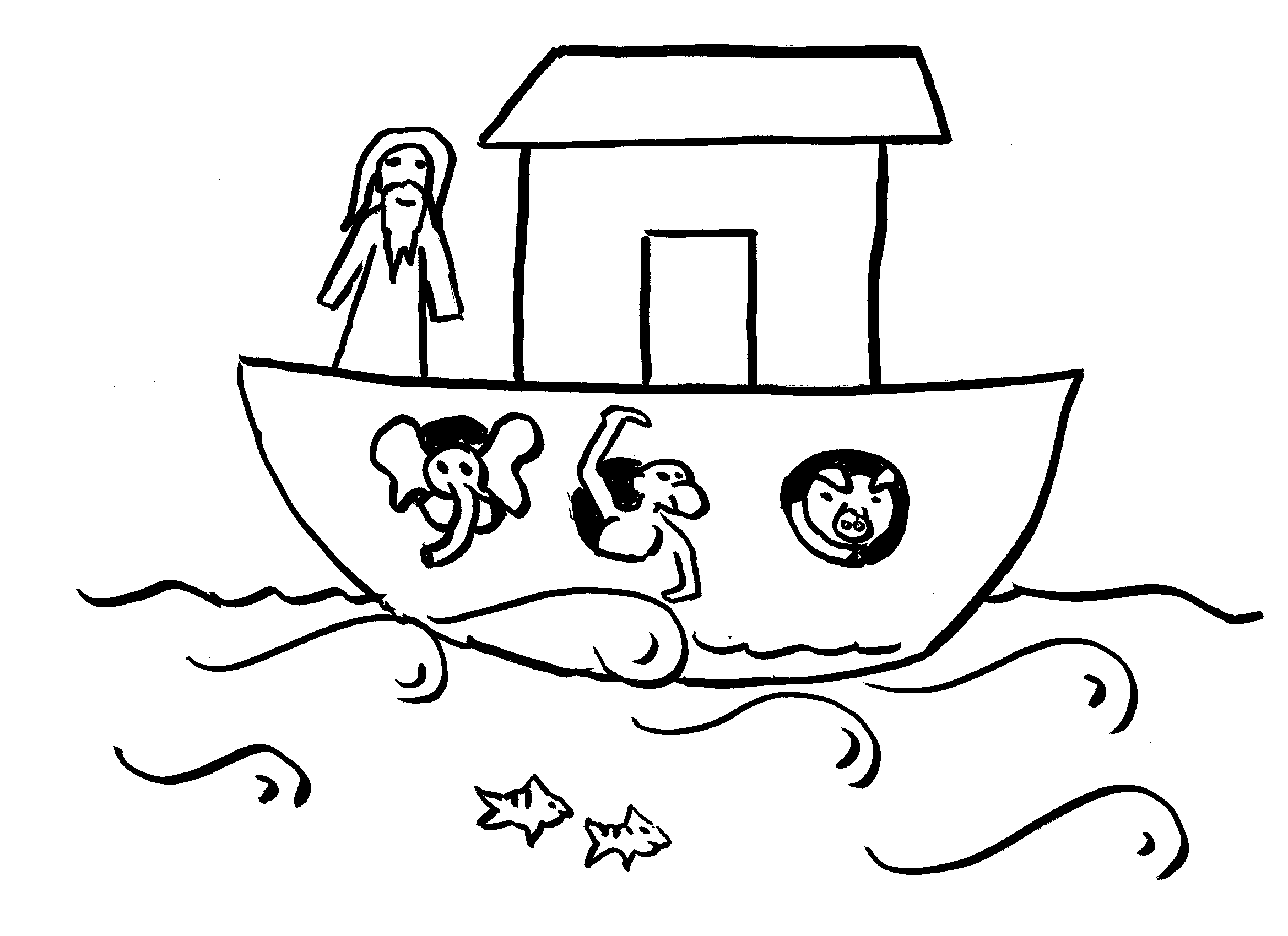 Noahs Ark PNG Black And White - 74026