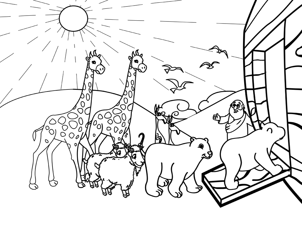 Noahs ark png black and white transparent noahs ark black for Noah s ark printable coloring pages