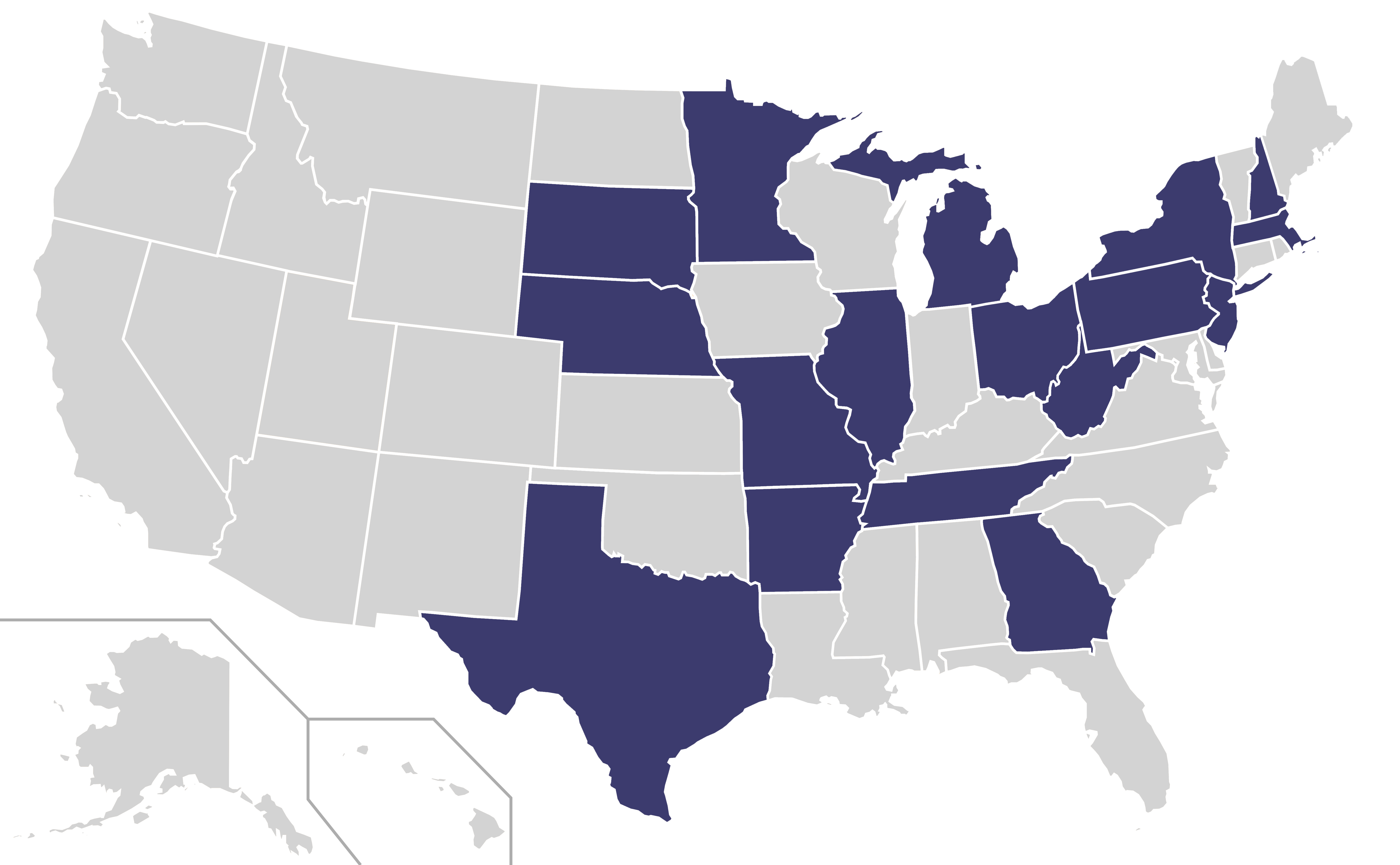 File:Home States of Democratic Party Presidential Nominees Locator Map  (United States of America - Nominees PNG
