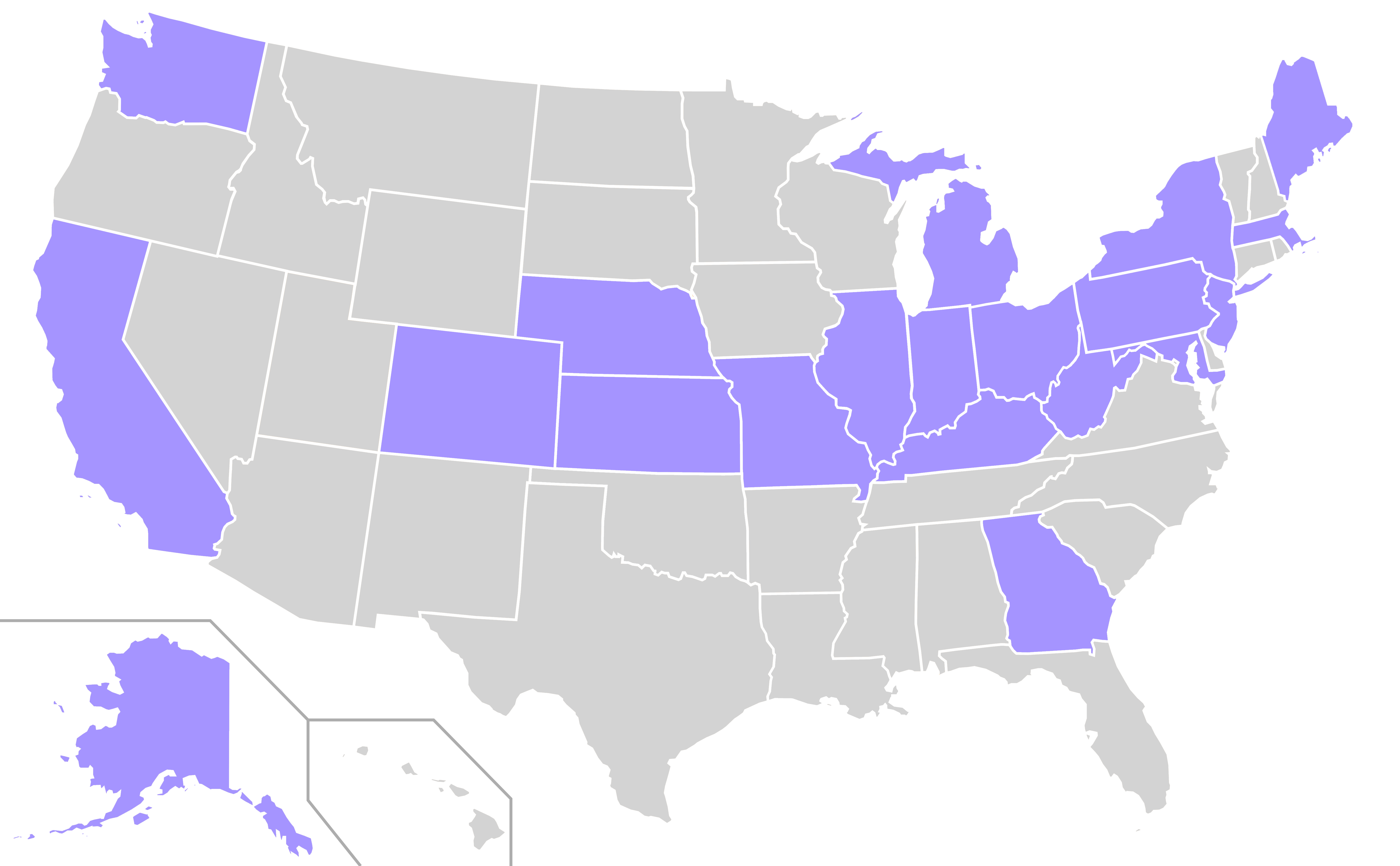 File:Home States of Prohibition Party Presidential Nominees Locator Map  (United States of America - Nominees PNG