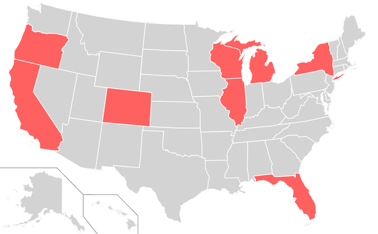 File:Home States of Socialist Party of the United States of America  Presidential Nominees Locator Map (United States of America).png - Nominees PNG