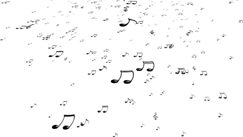 Animated flying black music notes on white background (upward). Each music  note is - Note HD PNG