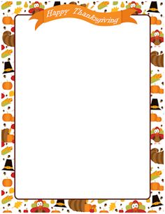 Free happy thanksgiving border templates including printable border paper  and clip art versions. File formats include GIF, JPG, PDF, and PNG. - November PNG Border