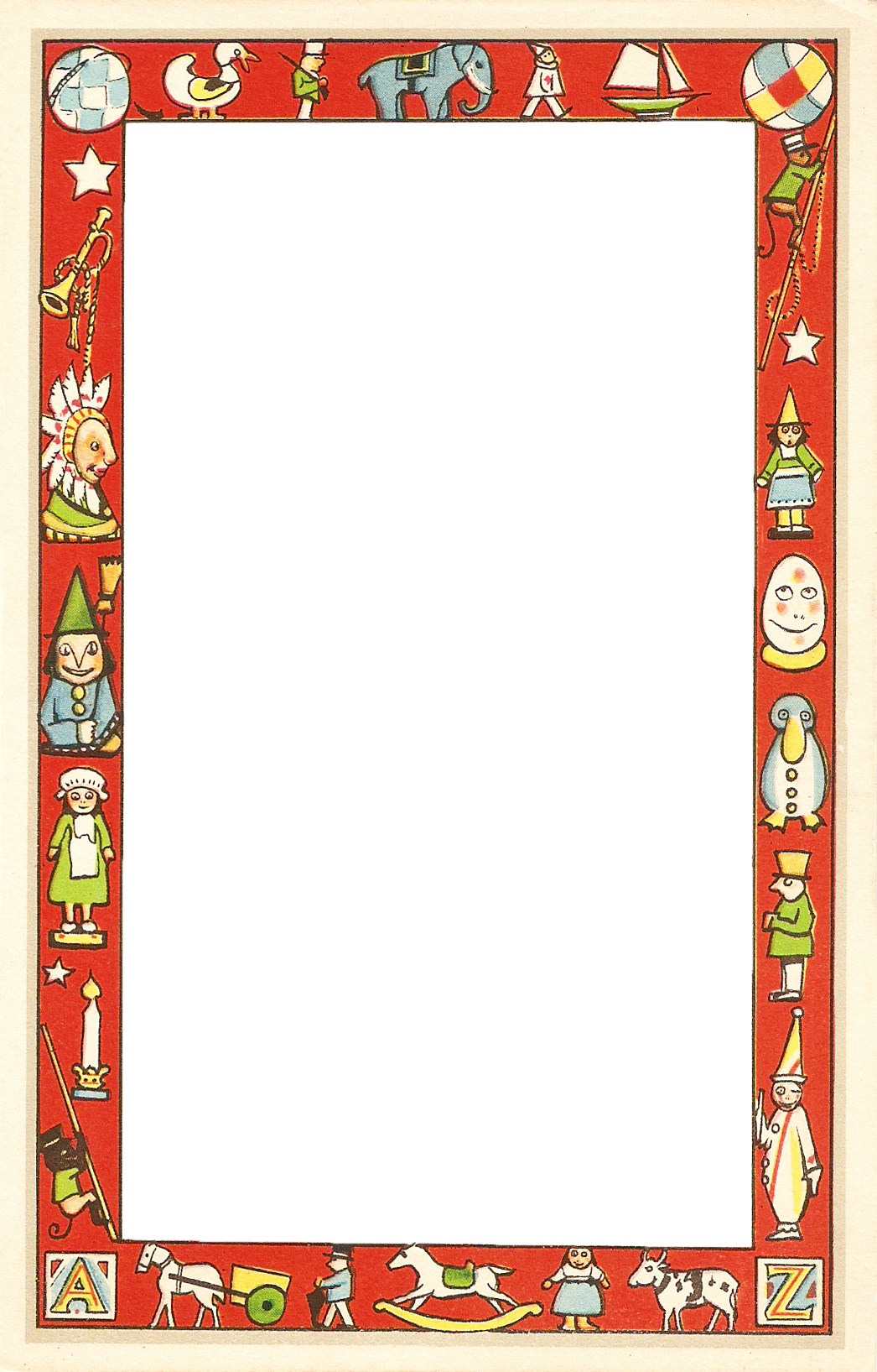 . PlusPng.com of the toy-filled border, and a png of the center section with Santa.  The card is undated and was published without a copyright notice but  appears to be PlusPng.com  - November PNG Border