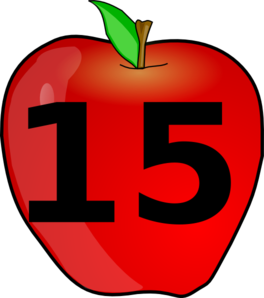 Counting Apple Clip Art - Number Fifteen PNG